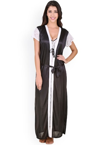 Masha White & Black Lace Maxi Nightdress with Robe HC-A100-714 at myntra