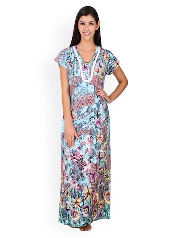 Masha Multicoloured Floral Print Maxi Nightdress NT-A107-730 at myntra