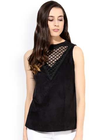 Raindrops Black Top at myntra