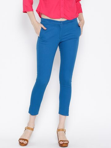 BIBA Blue Casual Trousers at myntra