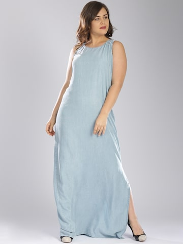 GAS Women Blue Chambray Solid Maxi Dress at myntra