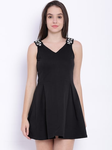 Riot Black Fit & Flare Dress at myntra