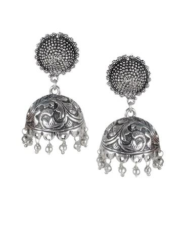 Rubans Silver-Toned Jhumka Earrings at myntra