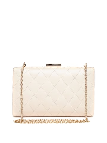 Lisa Haydon for Lino Perros Beige Quilted Box Clutch with Chain Strap at myntra