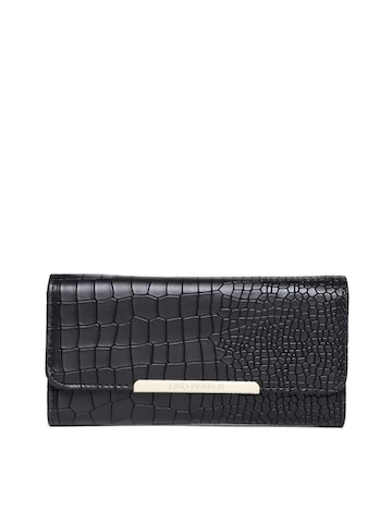Lisa Haydon for Lino Perros Women Black Croc Textured Wallet at myntra