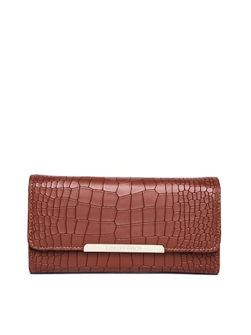 Lisa Haydon for Lino Perros Women Brown Croc Textured Wallet at myntra