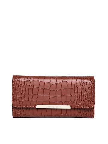 Lisa Haydon for Lino Perros Women Brown Croc Textured Wallet at myntra