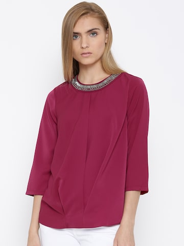 Vero Moda Magenta Polyester Embellished Neck Top at myntra