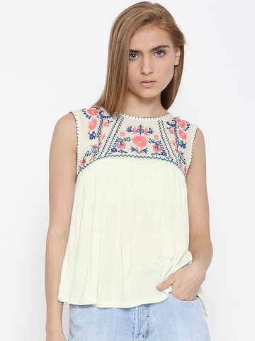 Vero Moda Off-White Floral Embroidered Top at myntra