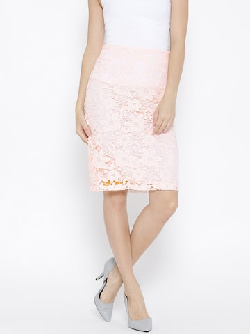 Vero Moda Pink Floral Crochet Pencil Skirt at myntra