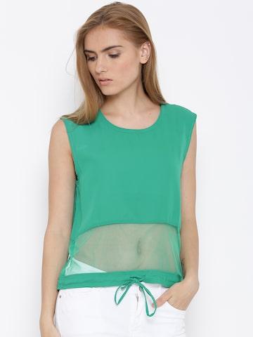 Vero Moda Green Sheer Panelled Polyester Top at myntra