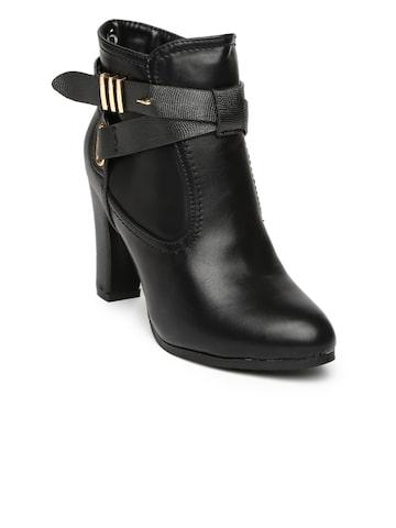 Inc.5 Women Black Heeled Boots at myntra