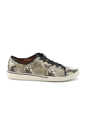 Clarks Women Beige Snakeskin Print Casual Shoes at myntra