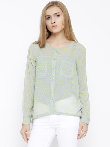 Vero Moda Grey Polyester Polka Dot Print Sheer Top at myntra