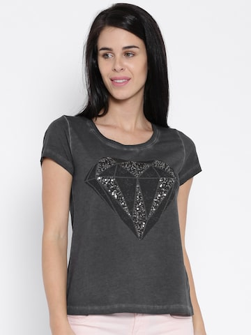 ONLY Charcoal Grey Washed Printed T-shirt at myntra