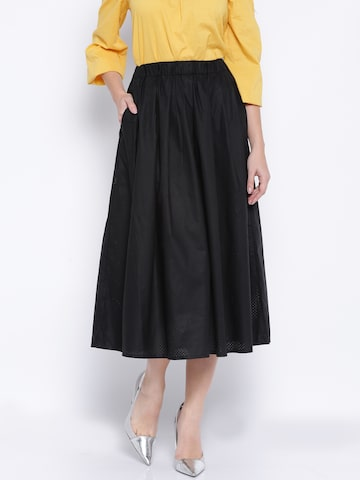 ONLY Black Laser-Cut Flared Midi Skirt at myntra