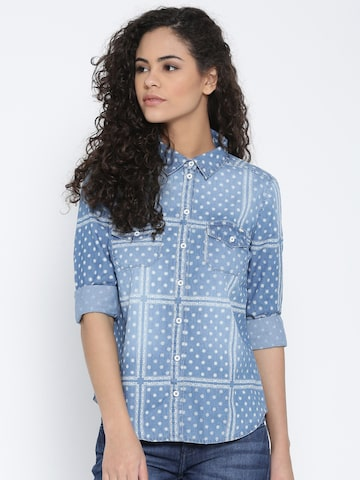ONLY Blue Denim Printed Shirt at myntra