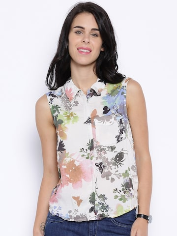 ONLY Off-White Floral Print Sleeveless Shirt at myntra