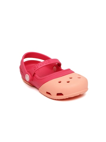 Crocs Girls Pink & Peach-Coloured Electro II MJ PS Clogs at myntra