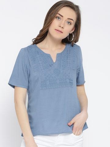 Vero Moda Blue Embroidered Detail Top at myntra