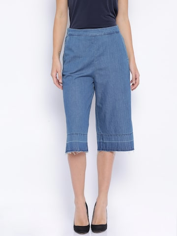 ONLY Blue Denim Cullote Trousers at myntra