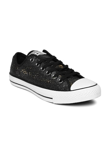 Converse Women Black Chuck Taylor Sequinned Sneakers at myntra