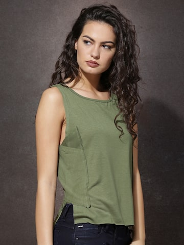 Roadster Women Olive Green Solid Round Neck T-Shirt at myntra