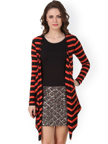 Texco Orange & Black Striped Shrug at myntra