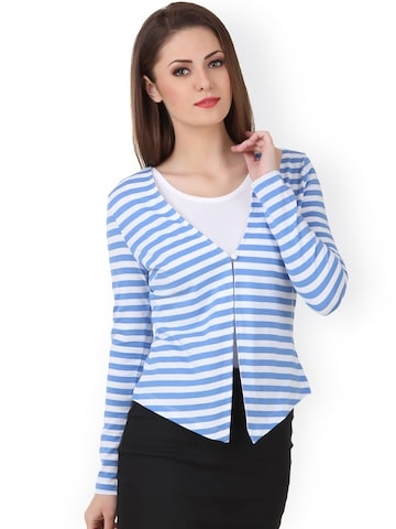 Texco Blue & White Striped Shrug at myntra