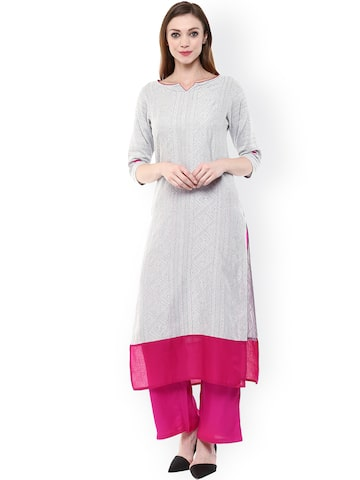 Jaipur Kurti Grey Kurta at myntra