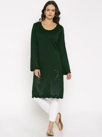 Anouk Women Green Solid A-Line Kurta at myntra