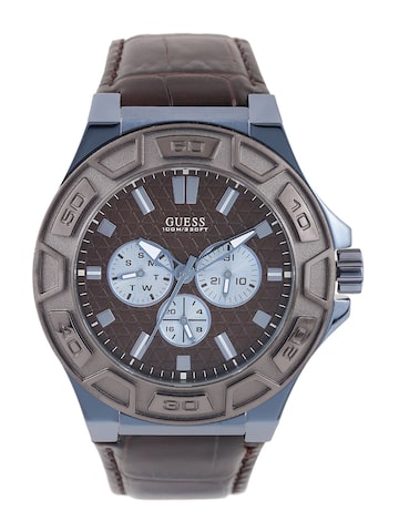 GUESS Men Brown Textured Multifunction Dial Watch W0674G5 at myntra