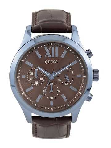 GUESS Men Brown Textured Multifunction Dial Watch W0789G2 at myntra