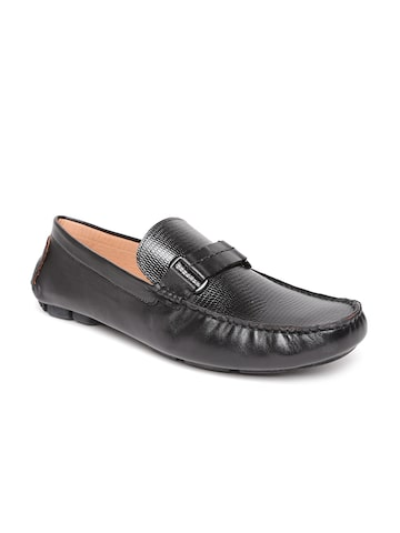 San Frissco Men Black Leather Loafers at myntra