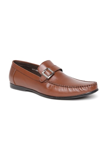 San Frissco Men Brown Leather Semiformal Shoes at myntra