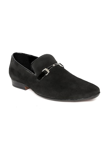 San Frissco Men Black Suede Semiformal Slip-Ons at myntra