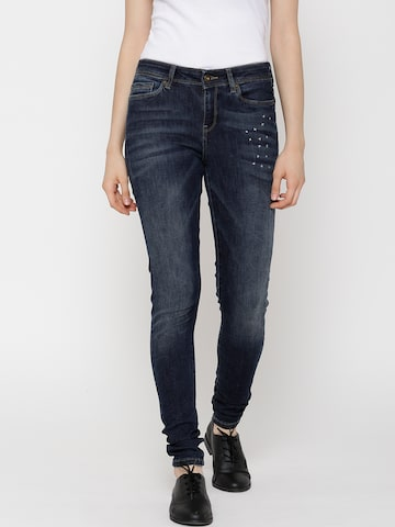 Vero Moda Navy Washed Super-Slim Jeans at myntra