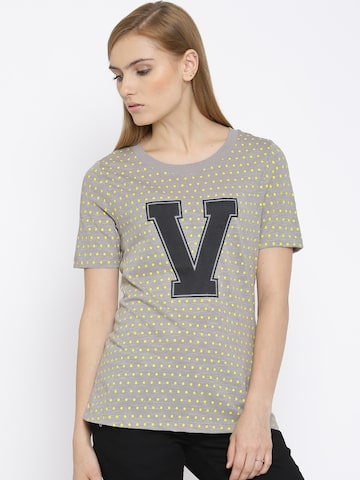 Vero Moda Grey Melange Printed T-shirt at myntra