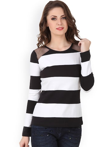 Texco Black & White Striped Top at myntra