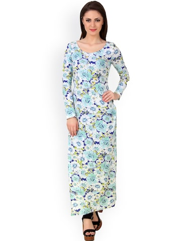 Texco Blue Floral Print Maxi Top at myntra