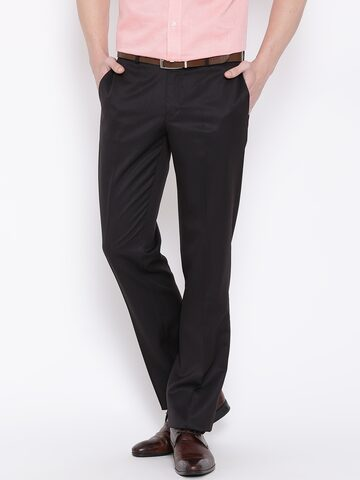 Blackberrys Dark Brown Sharp Fit Formal Trousers at myntra