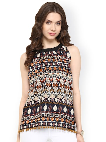 Pannkh Multicoloured Printed Polyester Top at myntra