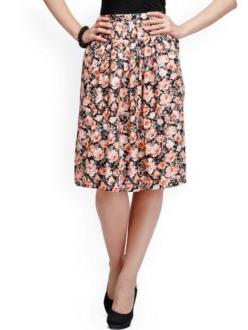 Eavan Black Floral Print Flared Skirt at myntra