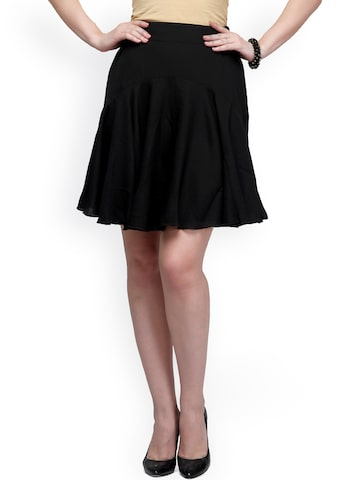 Eavan Black Polyester Flared Skirt at myntra