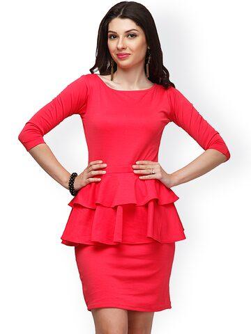 Eavan Pink Peplum Dress at myntra