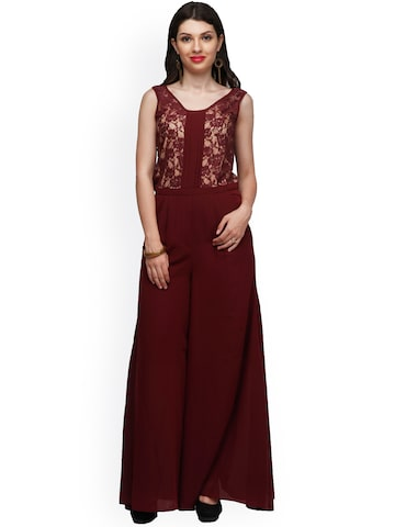 Eavan Maroon Lace Jumpsuit at myntra