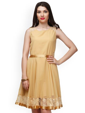 Eavan Beige Lace Fit & Flare Dress at myntra