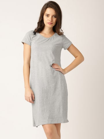 DressBerry Grey Melange Longline T-shirt at myntra
