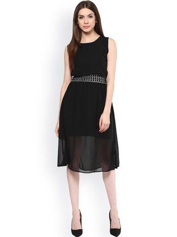 Hapuka Black A-Line Dress at myntra