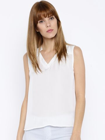 DressBerry Women Off-White Solid Regular Top at myntra